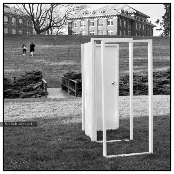Portal To Your Dreams :: Black & white photography of public art print - Artwork © Michel Godts