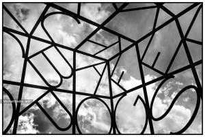 Alphabet Cube—Black and white photography of public art.   - Artwork © Michel Godts