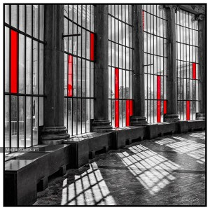 Botanique Greenhouse Windows :: Selective coloring architecture photography - Artwork © Michel Godts