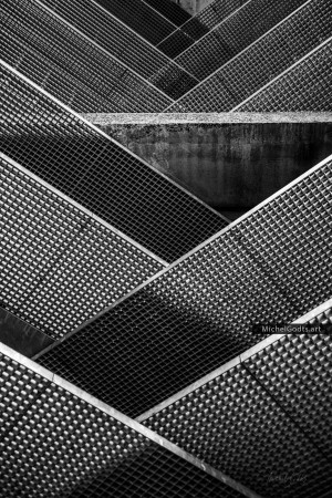 Crossing Balustrades Pattern :: Black and white abstract realism photography - Artwork © Michel Godts