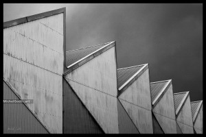 Darkness Over SportCity :: Black and white architecture photography - Artwork © Michel Godts