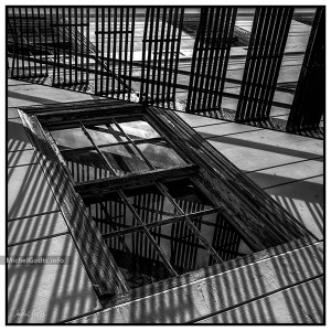 Fire Escape Shadow :: Black & white urban photography - Artwork © Michel Godts