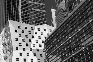 Jagged Building Contrast :: Black and White Architecture Photography Wall Art Print - Artwork © Michel Godts