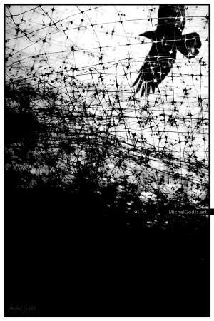 No Escape. Black & white photo illustration. Artwork © Michel Godts