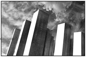 Sky Pillars :: Black and white abstract realism photography - Artwork © Michel Godts