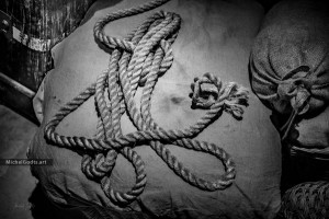 Vintage Rope Scene :: Black and white still life photography - Artwork © Michel Godts