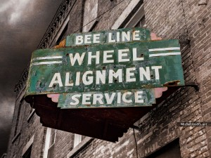 Vintage Wheel Alignment Service Sign :: Urban impression photography - Artwork © Michel Godts