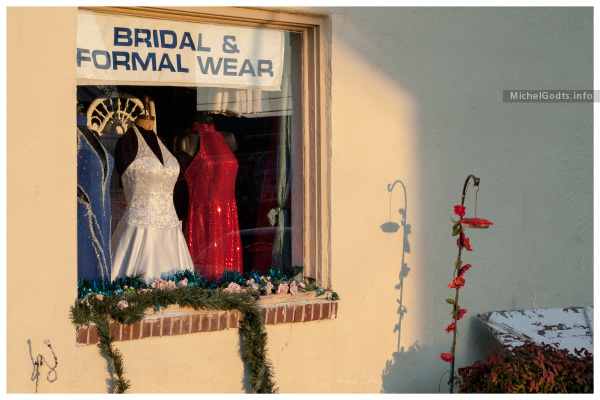Winter Sunset On Bridal Wear Window :: Urban Photography Wall Art Print - Artwork © Michel Godts