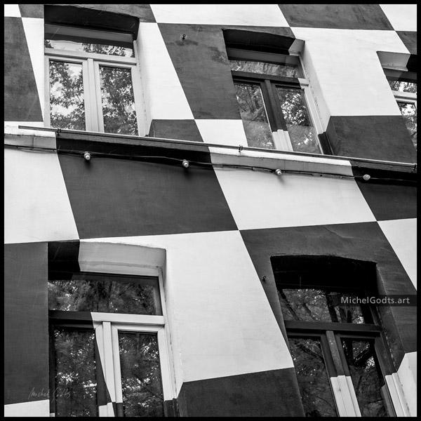 Checkerboard Facade :: Black & white urban architecture photography - Artwork © Michel Godts