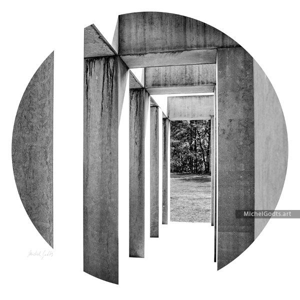 Colonnade Progression :: Black and white abstract realism photography - Artwork © Michel Godts