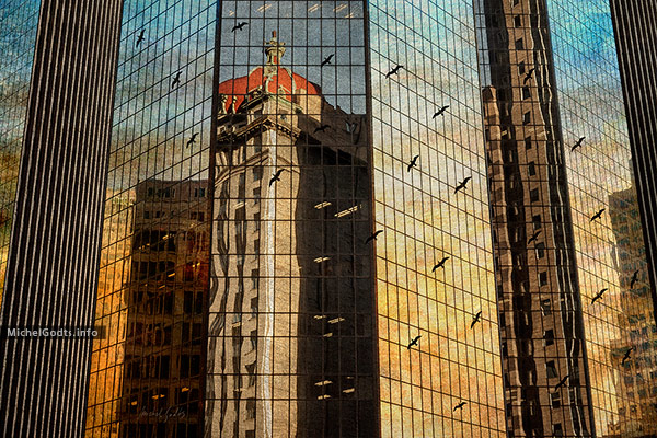 Downtown Sunset Scene :: Urban texture blend photography - Artwork © Michel Godts