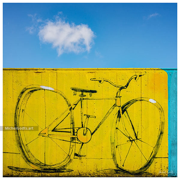 Yellow Bicycle Mural :: Street art photography - Artwork © Michel Godts