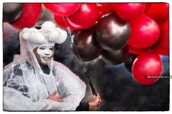 Under Her Balloons :: Portraiture Photography - Artwork © Michel Godts