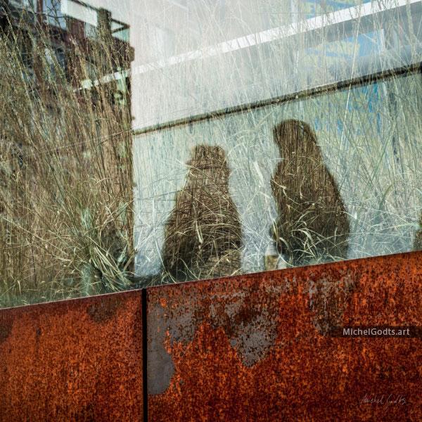 Walking Shadows On High Line :: Urban Street Photography Wall Art Print - Artwork © Michel Godts