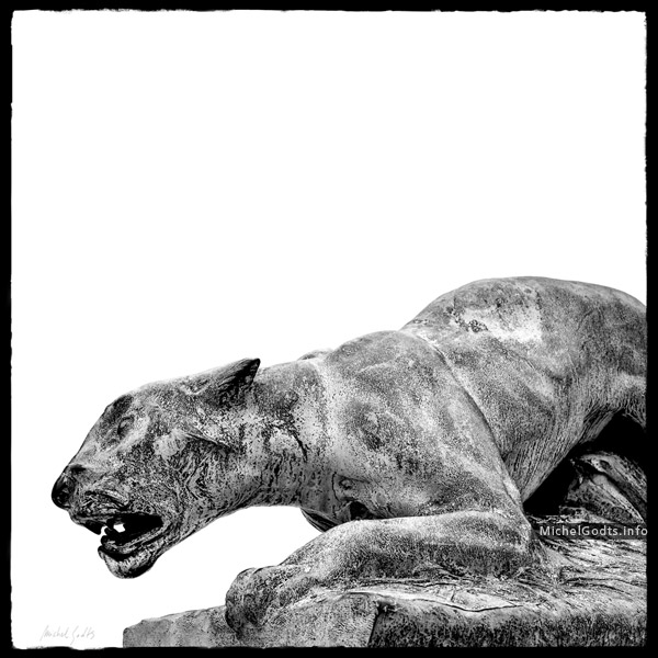 Weathered Bronze—The Panther :: Black and white photography of public art - Artwork © Michel Godts